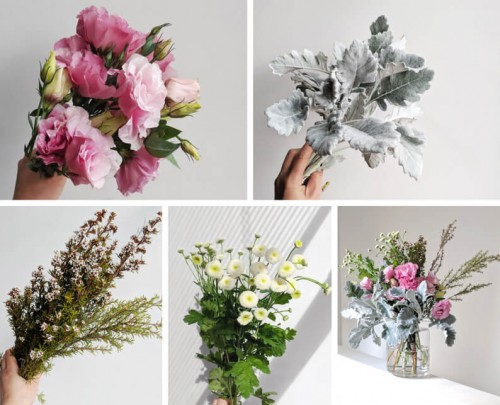 Lisianthus arrangement flower tutorial dusty miller ti tree instructions