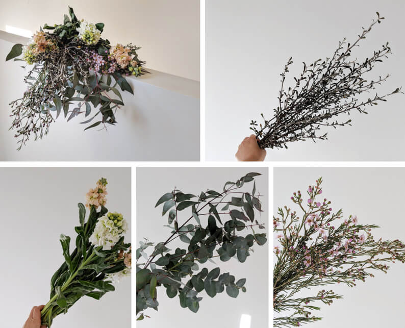 Pastel flower arrangement with Stock, Eucalyptus, Waxflower and Corokia - What you'll need