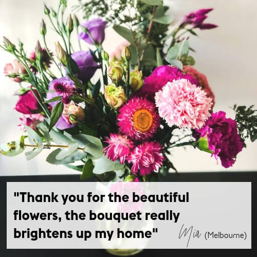 Flower Delivery Sydney and Melbourne Testimonial Pink and Purple