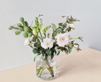 International Women's Day Inspired Flower Arrangement with Roses Figs and Freesias