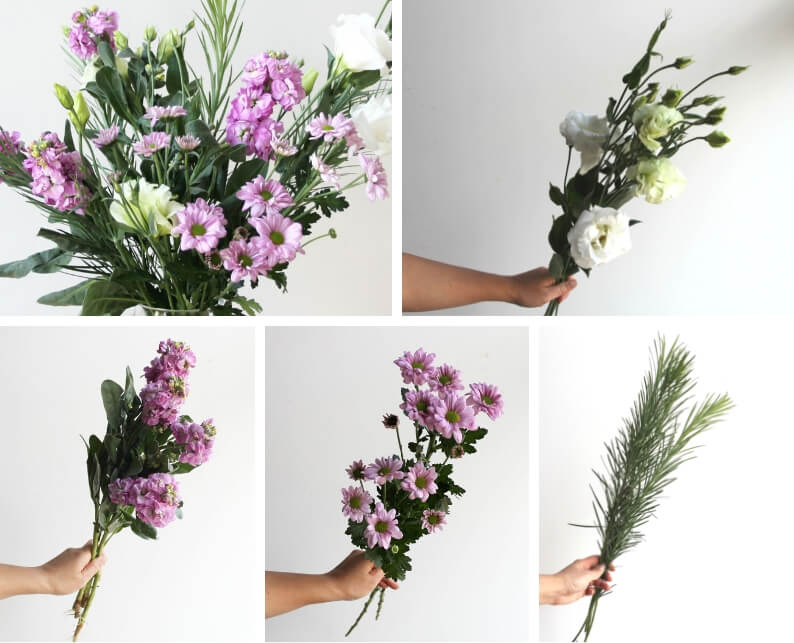 Berry toned purple flower arrangement - what you'll need