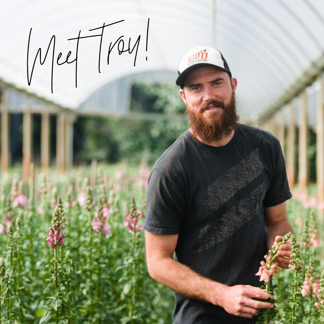 Flower Farmer Troy Casini in Snapdragon Field